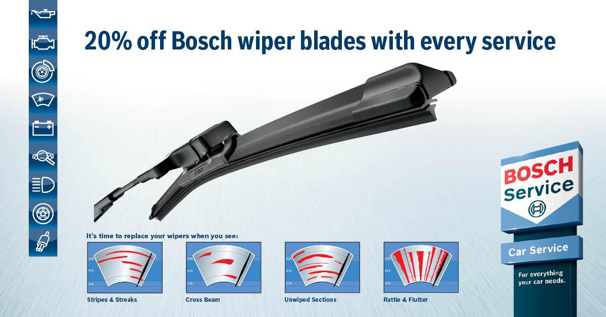 20% of Bosch wiper blades